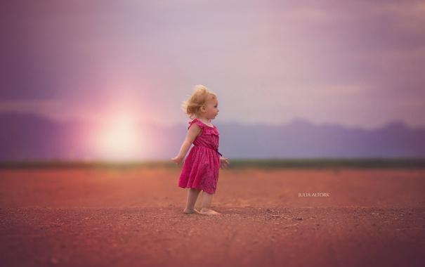 Фото обои поле, фон, девочка