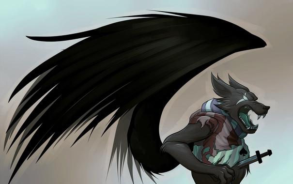 Фото обои sword, wings, Wolf