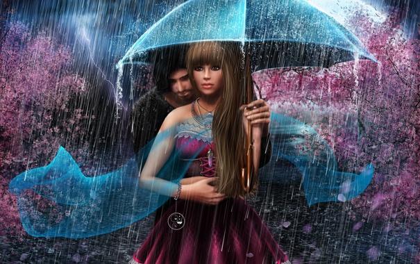 Фото обои девушка, дождь, романтика, молния, зонт, парень