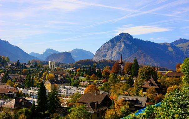 Фото обои пейзаж, горы, город, фото, дома, Швейцария, Spiez