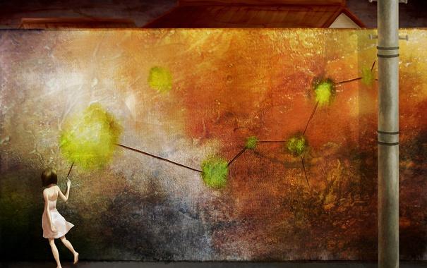Фото обои стена, краска, столб, девочка