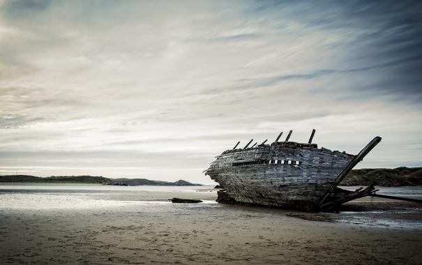 Фото обои пейзаж, корабль, мель
