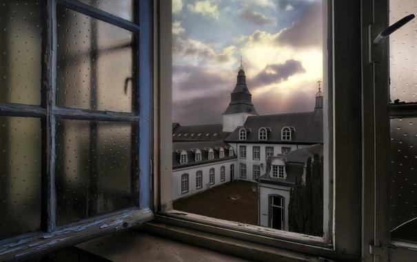 Фото обои небо, город, окно