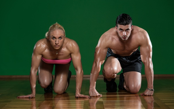 Фото обои woman, muscle, man, pose, bodybuilders