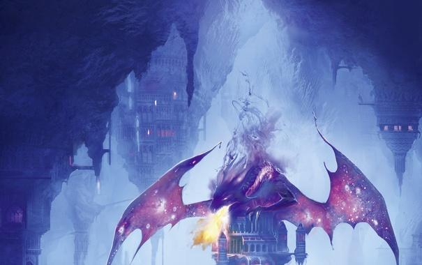 Фото обои замок, огонь, дракон, крылья, арт, башни, fire