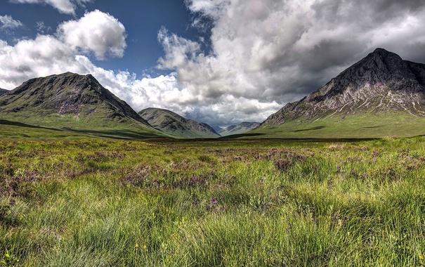 Фото обои небо, тени, долина, облака, горы