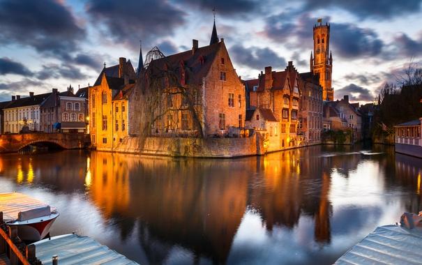 Фото обои мост, огни, дома, вечер, канал, Бельгия, Брюгге