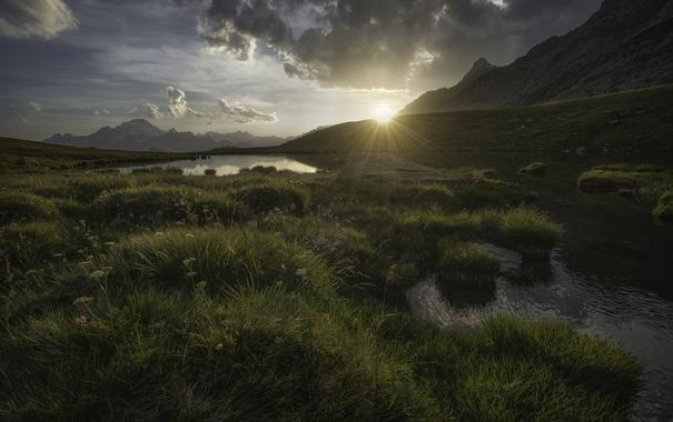 Фото обои озера, река, горы, солце