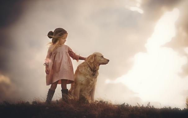 Фото обои собака, девочка, Friendship