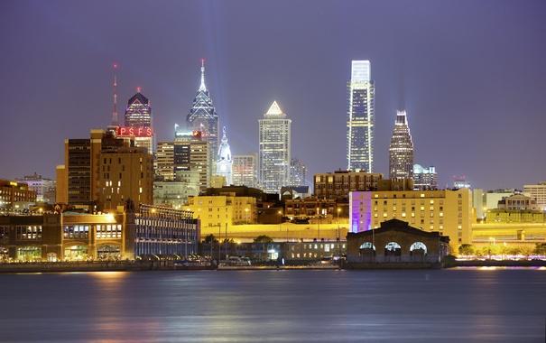 Фото обои ночь, огни, небоскреб, дома, Нью-Йорк, США