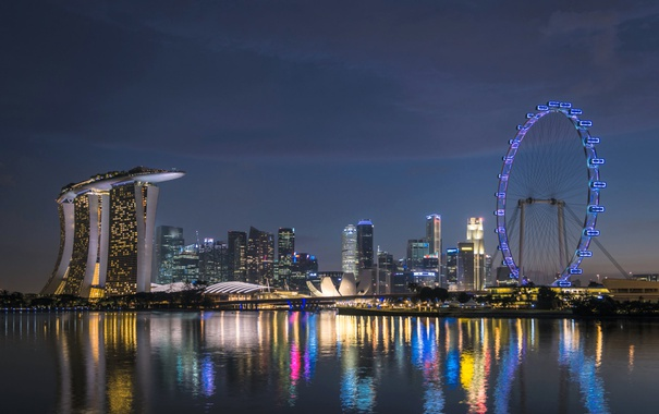 Фото обои ночь, огни, Сингапур, Marina Bay, колесо обзора