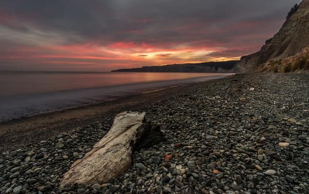 Фото обои море, пейзаж, закат, берег
