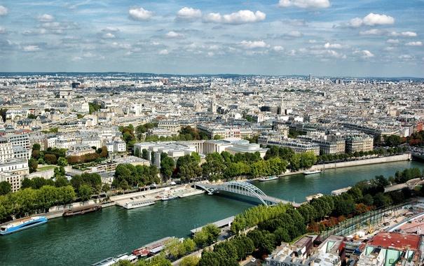 Фото обои город, река, Франция, Париж, дома, мосты, теплоходы