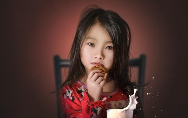 Фото обои взгляд, еда, девочка