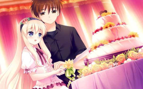 Фото обои цветы, стол, корона, большой, нож, торт, зал