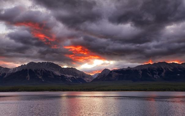 Фото обои небо, горы, тучи, озеро, вечер, зарево