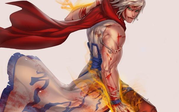 Фото обои взгляд, магия, кровь, волосы, аниме, шарф, арт