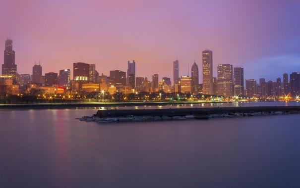 Фото обои небоскребы, Чикаго, панорама, USA, Chicago, мегаполис, illinois