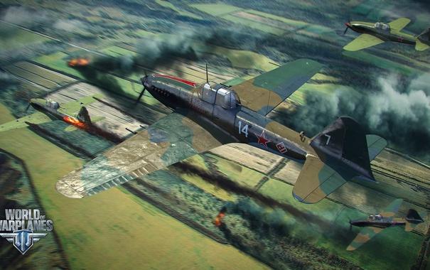 Фото обои поле, самолет, огонь, aviation, авиа, MMO, Wargaming.net