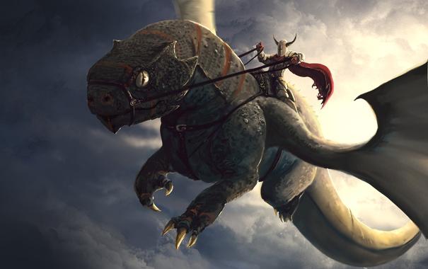 Фото обои небо, дракон, полёт, рыцарь, art