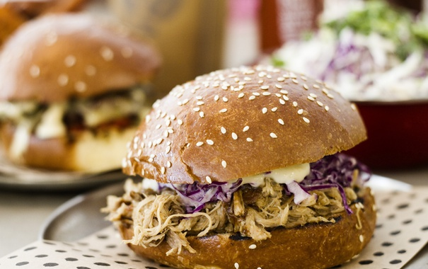 Фото обои pulled pork burger, sauce, lettuce
