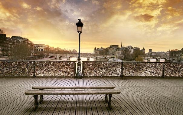 Фото обои мост, город, лавочка, фонарь, архитектура