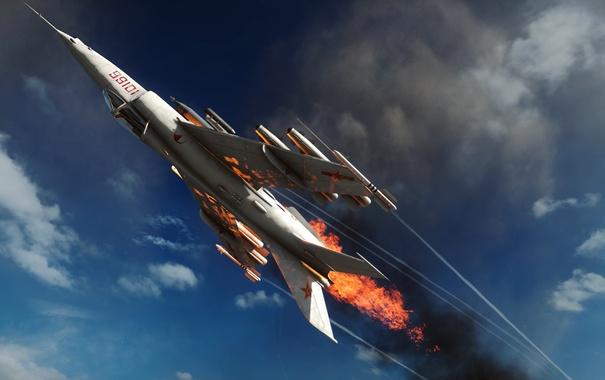 Фото обои небо, самолет, огонь, пламя, Battlefield 4