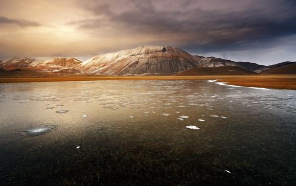 Фото обои берег, озеро, природа, горы, снег
