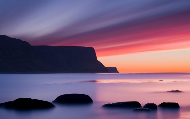 Фото обои камни, скалы, небо, облака, зарево, горы, море