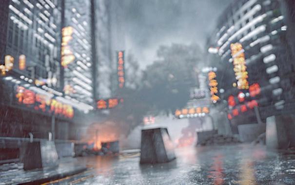Фото обои Небо, Город, Свет, Дождь, Здание, DICE, Battlefield 4