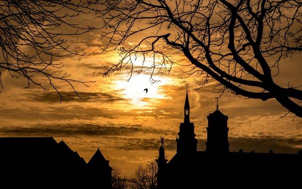 Фото обои пейзаж, ночь, город