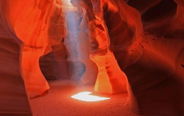 Фото обои свет, скалы, краски, Аризона, пещера, США, каньон Антилопы