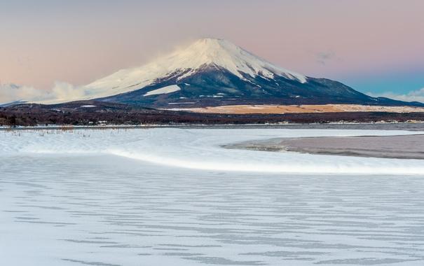 Фото обои зима, снег, пейзаж, гора, вулкан, Япония, Fuji