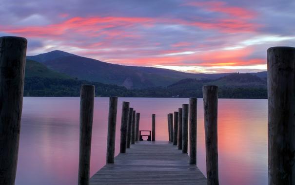 Фото обои пейзаж, закат, мост, озеро
