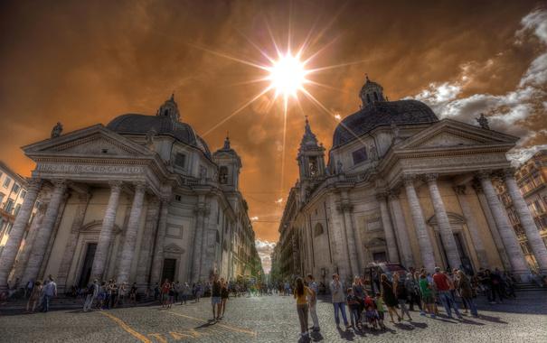 Фото обои небо, солнце, люди, улица, площадь, Рим, Италия