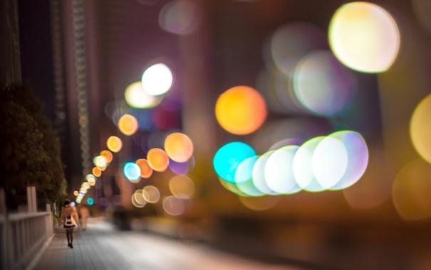 Фото обои город, ночь, улица