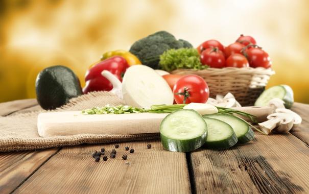 Фото обои лук, перец, овощи, помидоры, капуста, огурцы, гребы