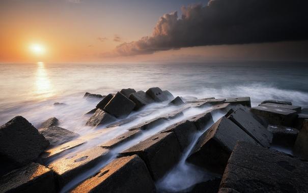 Фото обои камни, закат, море