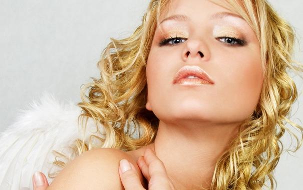 Фото обои взгляд, лицо, модель, ангел, блондинка