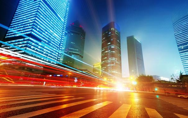 Фото обои Китай, Гонконг ночью, легкие трассы в Шанхае