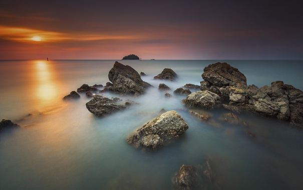 Фото обои море, пейзаж, закат, камни, берег
