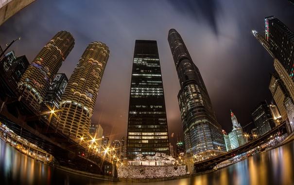 Фото обои ночь, city, огни, небоскребы, USA, америка, чикаго