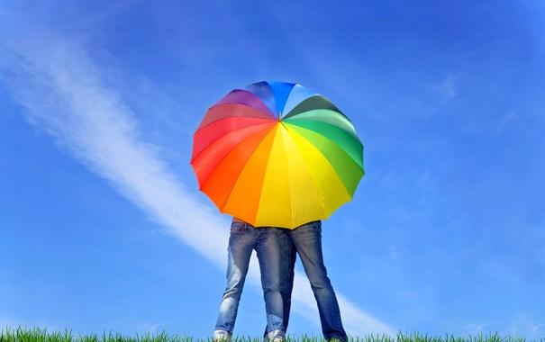 Фото обои цвета, девушка, зонт, парень