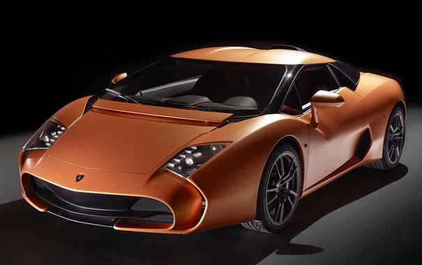Фото обои оранжевый, Lamborghini, чёрный фон, zagato, единственный экземпляр, 5-95
