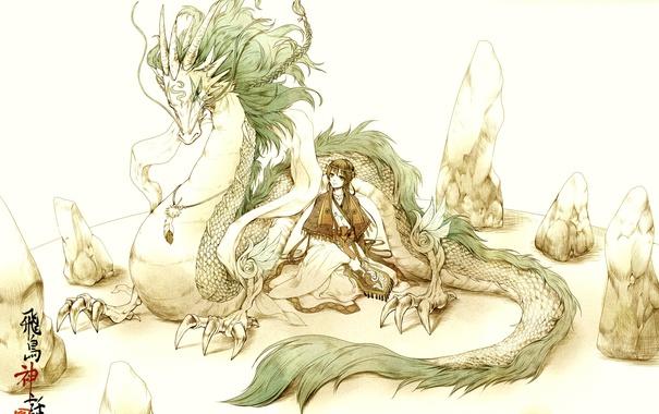 Фото обои перо, дракон, Девушка, валуны