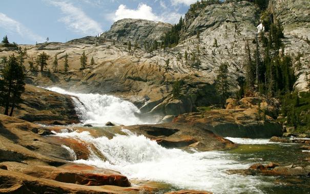 Фото обои камни, скалы, течение, поток, Калифорния, США, речка