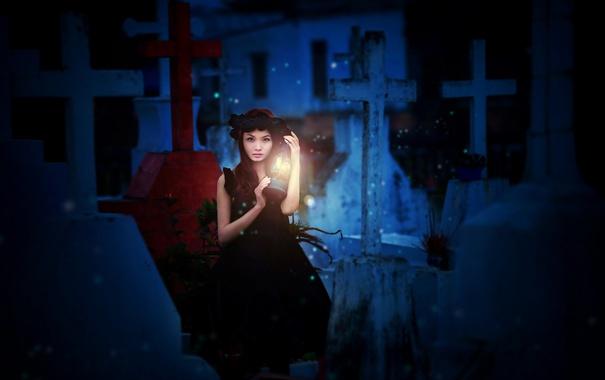 Фото обои азиатка, лампа, свет, девушка
