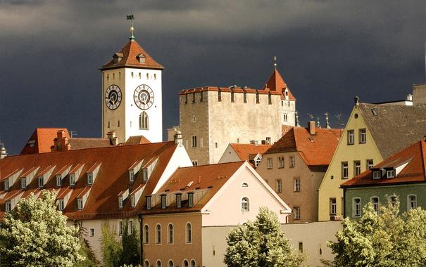 Фото обои город, фото, дома, Германия, Бавария, Regensburg