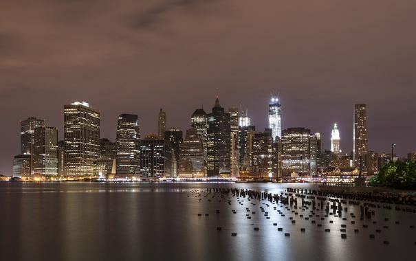 Фото обои ночь, огни, Нью-Йорк, Манхеттен