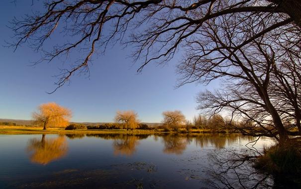 Фото обои осень, небо, деревья, река